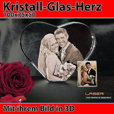 Herz Mittel Glas 3D Laser Foto Gravur Geschenkidee 2D in 3D Geburtstag Hochzeit