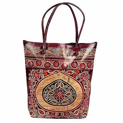 Real Leather Large Tote Batik Indian Shantiniketan Ethnic Shopping Bag Handmade