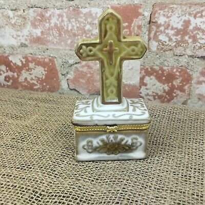 Silver Toned Etched Oval Thick Religious Cross Oval Trinket Jewelry Box