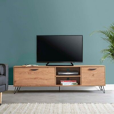 VonHaus Capri Large TV Unit 180cm 70in Oak-Effect With 2 Doors & 2 Shelves