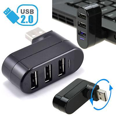 3 Ports Usb 2 0 Mini Rotating Splitter Adapter Hub For Pc Notebook Laptop Mac