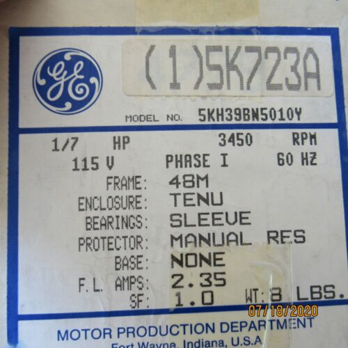 General Electric 5KH39BN5010Y  Electric Motor, 1/4HP 3450RPM