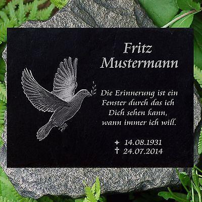 Grabstein Grabplatte Gedenkstein Taube 02 ► Gravur Inschrift + Motiv◄ 40x25 cm (Taube Platte)