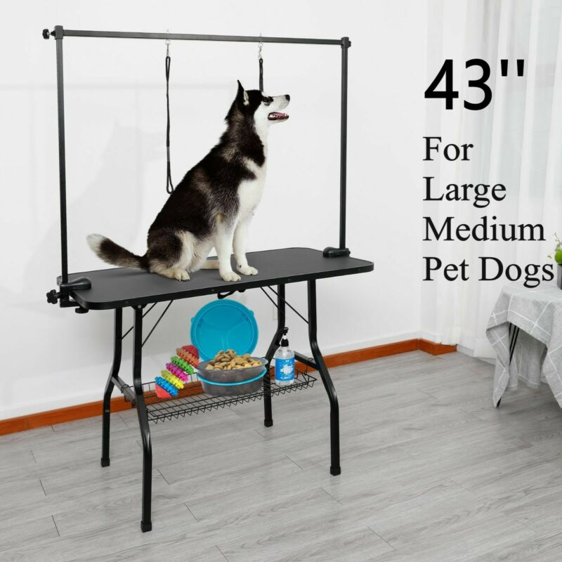 """43"""" Pet Dog Grooming Table Adjustable Height with Arm Noose/Mesh Tray Large Pet"""