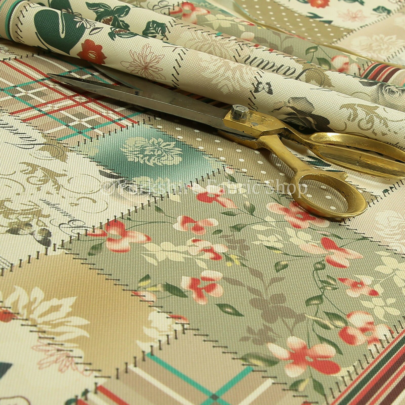 patchwork design upholstery fabric pattern beige green striped floral