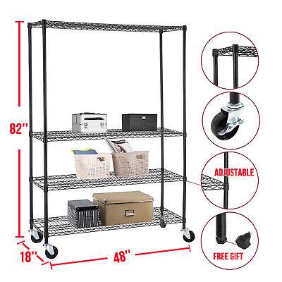 Commercial 82x48x18 Wire Shelving Rack 4 Tier Adjustable Steel Shelf
