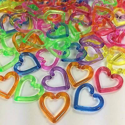 Foot Toy - 200 PCS PLASTIC HEART LINK CHAIN D.I.Y. MIX COLOR PARROT BIRD FOOT TOY