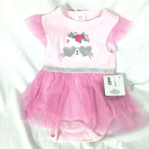 Bon Bebe Baby One piece Dress Size 6-9 Months Lace Cat Flowers NEW With Tag