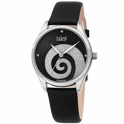 Women Burgi BUR201SSBK Swarovski Swirl Diamond Marker Satin Leather Strap Watch