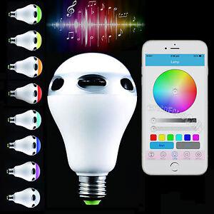 Bluetooth control music audio speaker led color bulb light for Best bluetooth light bulb speaker