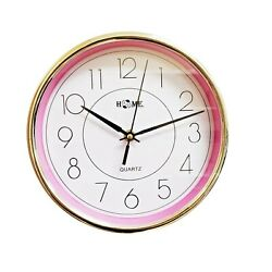 9 Inches  Round Shape Wall Clock, Non Ticking, Light Pink