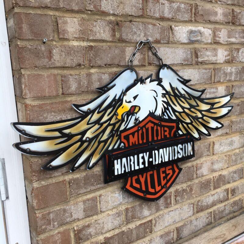 Harley Davidson Emblem Metal Sign Bald Eagle Fabricated Hand Made Motorcycles
