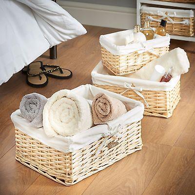 VonHaus 3 Large Wicker Rattan Home Storage Basket Organizers with Liners