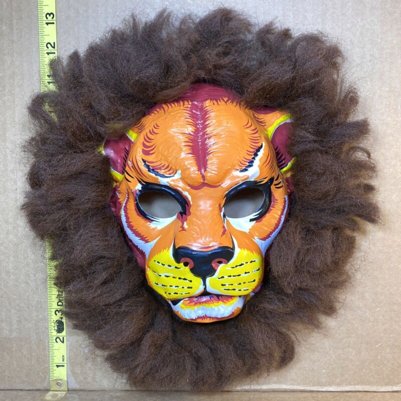 Vintage Collegeville Lion Halloween Mask Jungle Cat Safari 60s 70s USA