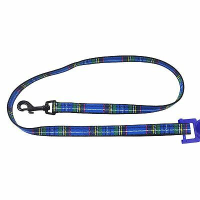 OFFICIAL LICENSED TARTAN DOUBLE NYLON DURABLE BLUE TARTAN  DOG PET SOFT LEAD