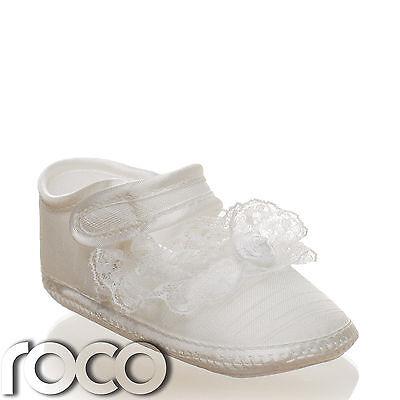Baby Mädchen Elfenbeinfarben Weiche Sohle Mädchen Taufe Schuhe Blumenmädchen