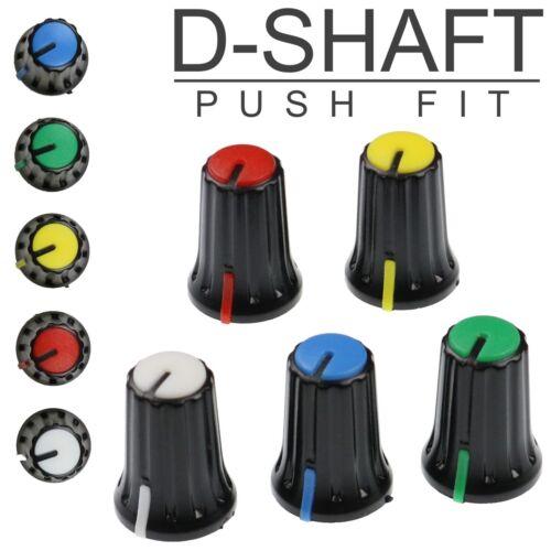 5 Colours D-Shaft 270° Plastic Pot Knobs for 6mm Potentiometer / Rotary Encoder
