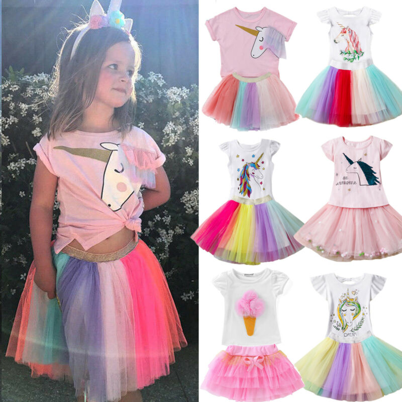 Kid Toddler Girl Unicorn Dress Outfit T-shirt Top Tulle Tutu