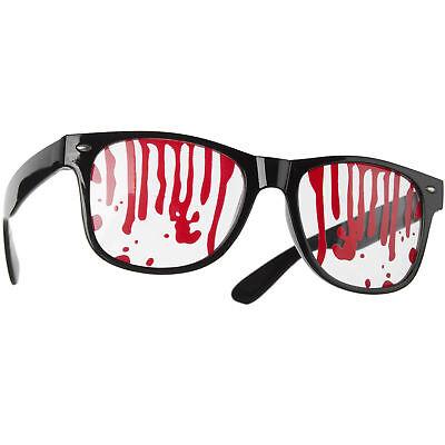 Brille mit Blut Halloween Accessoire Horror Fasching Kostüm Karneval Motto - Schwarzes Kunststoff Kostüm Brille