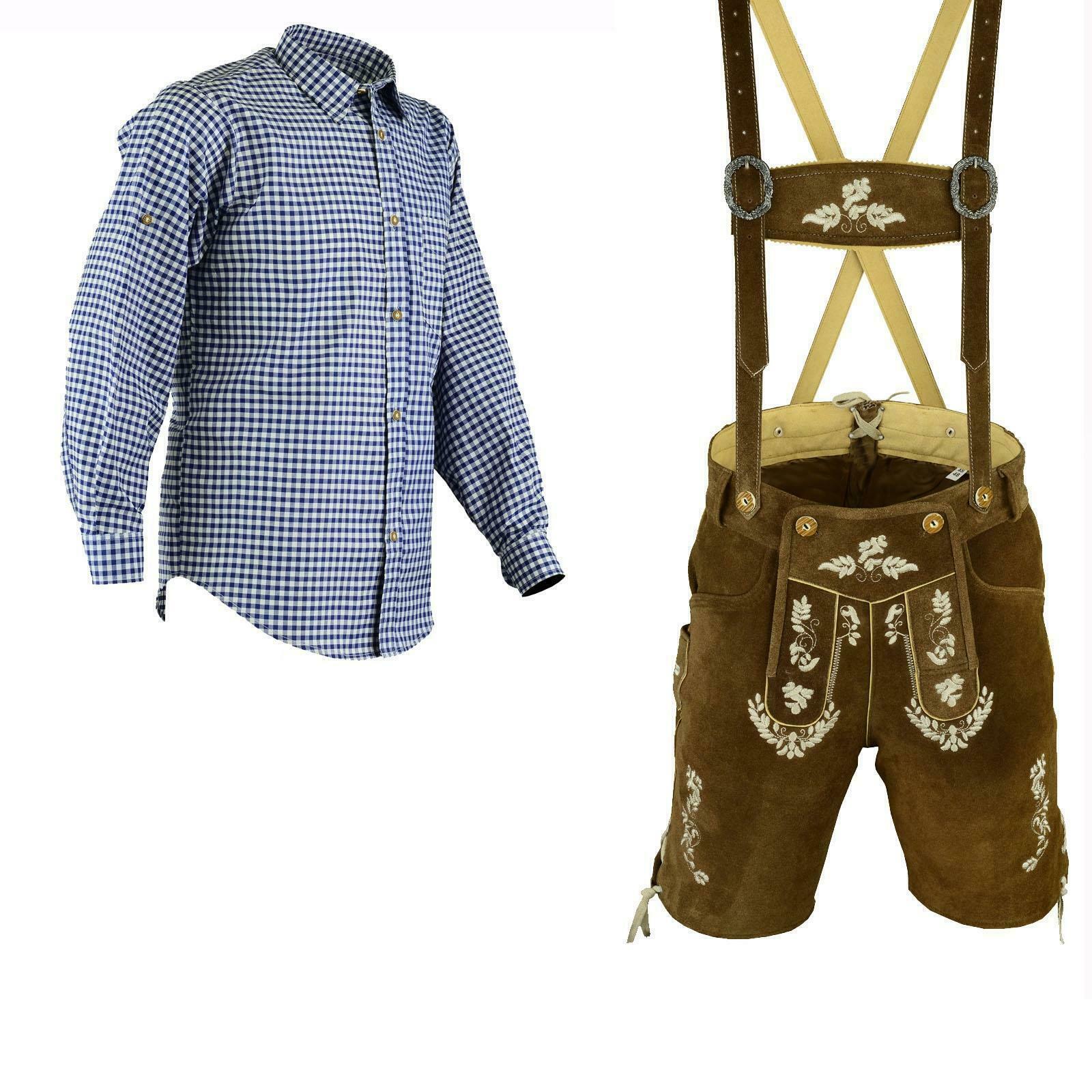 Herren Trachtenlederhose Kurz Blau Hemd Größe 46 bis 60 Trachten Set LE27B