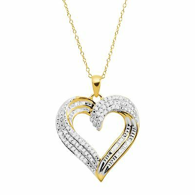 1/2 ct Diamond Swirled Heart Pendant in 14K Gold Plated-Sterling Silver