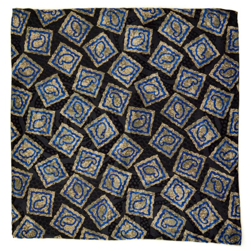 "New SANTOSTEFANO Black Blue Taupe 12"" Silk Pocket Square Handkerchief NWT $150"