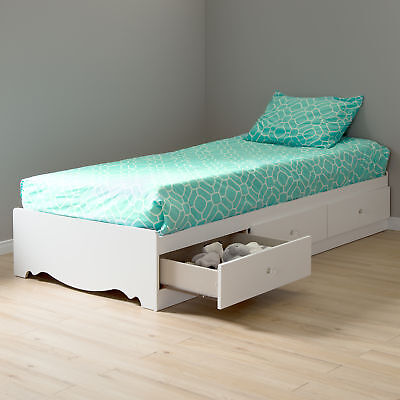 Twin Mates Bed White Crystal Shore Metal Handles Glide Drawers Slides Built in ()