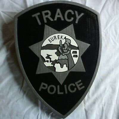 Police Tracy 3D routed carved award patch plaque trophy wood sign Custom