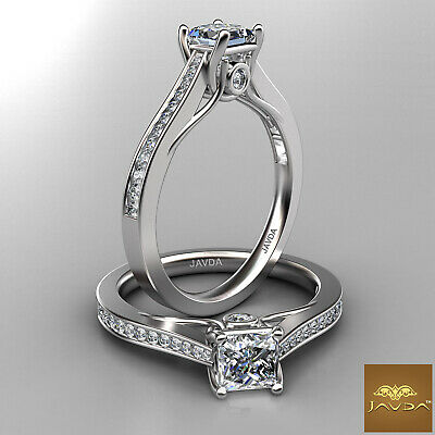 100% Natural Princess Diamond Engagement Bezel Channel Set Ring GIA F VVS1 0.8Ct
