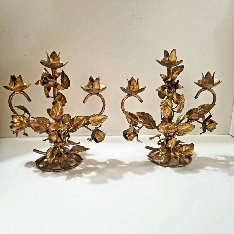 2 Vtg Gold Metal Tole Roses 3 Candle Holder Candelabra Hollywood Regency Italian