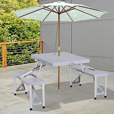 Outsunny Picnic Table Chair 4-Seat Set Foldable Patio Furniture Outdoor w/ -