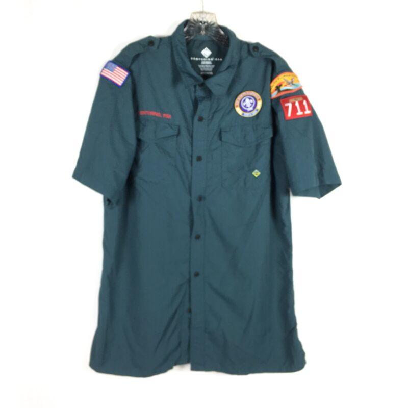 Boy Scout of America BSA Venturing Vented Green Uniform Shirt  Sz Adult Medium