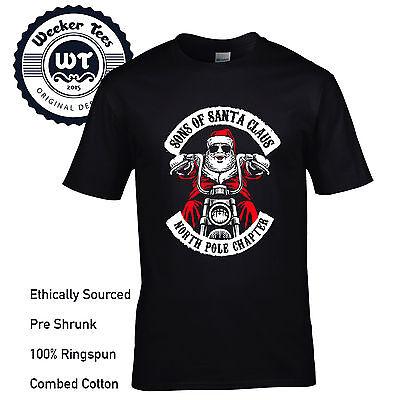 Sons Of Santa Claus T  Shirt Funny Biker Xmas Tee Anarchy Soa Parody Mens