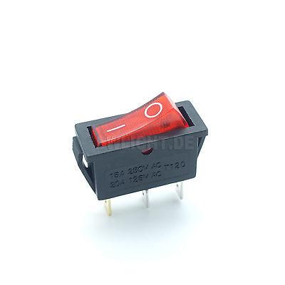 Wippenschalter schwarz beleuchtet 3-polig 250V~ / 15A 12V= / 20A 2 Stellungen