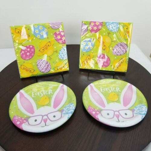 Easter Paper Plates Napkins Party Set Bunny Eggs Chicken Green