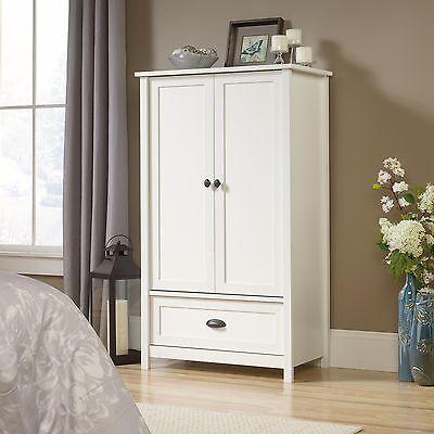 دولاب جديد New White Wardrobe Closet Storage Armoire Clothes Cabinet White Bedroom Dresser