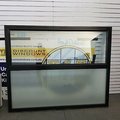 Aluminium Awning Window 1450H x 1795W (Item 4818) Black DOUBLE GLAZED