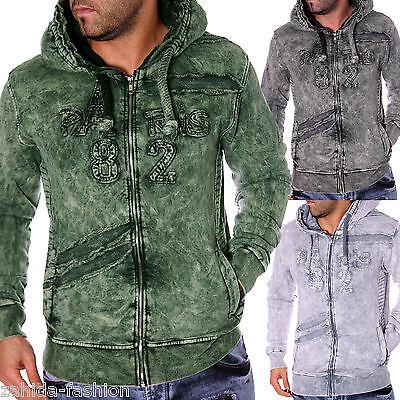 Herren Pullover Pulli Longshirt Hoodie Verwaschen Washed Used Look PARIS NEU