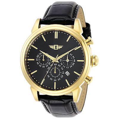 Invicta Men's Watch I By Invicta Yellow Gold Case Black Dial Leather Strap 29865