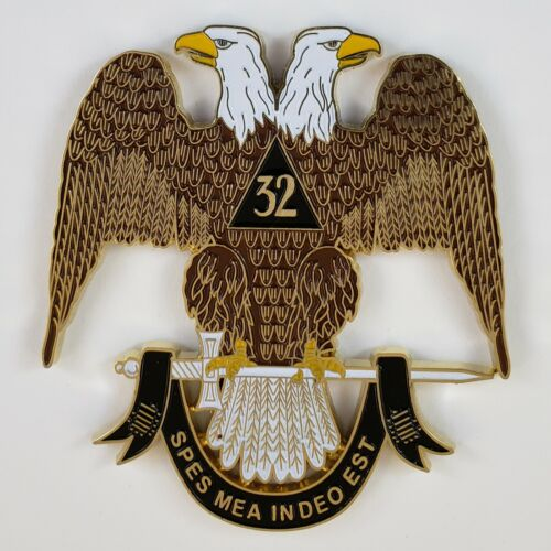 Auto Emblem Scottish Rite 32 Cut Out Metal Enamel Masonic Freemason Mason