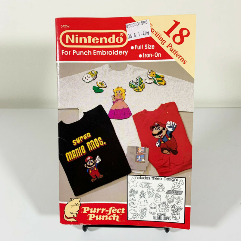 UNUSED Nintendo Super Mario Iron-On Punch Embroidery Patterns Craft Book 1990