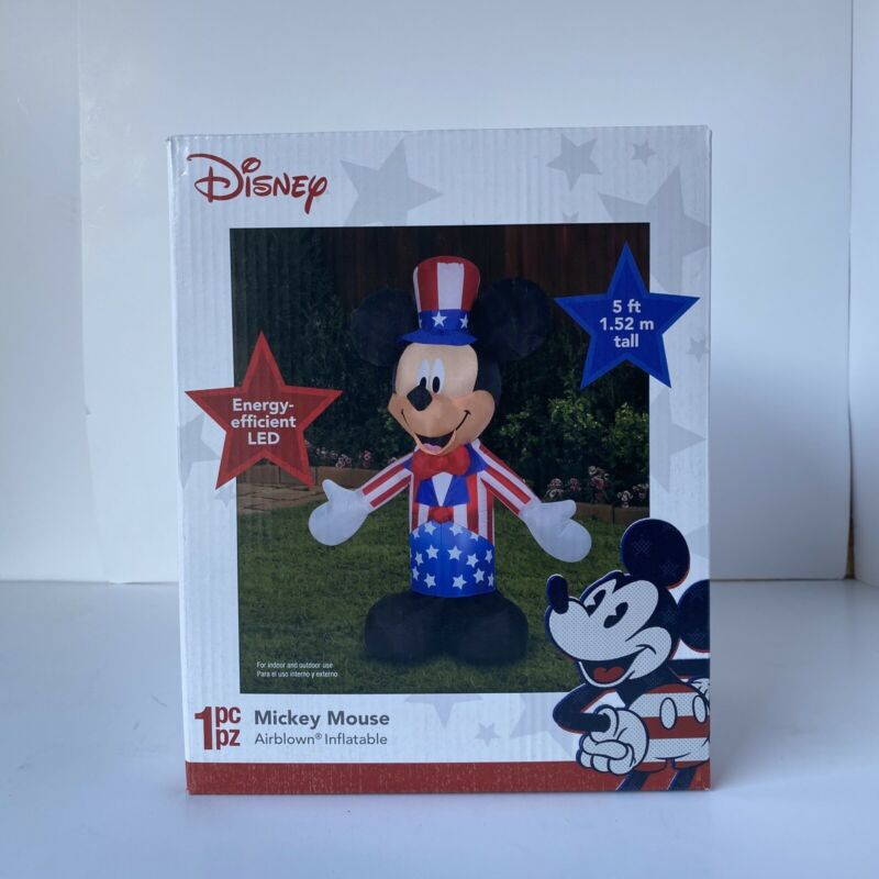 Mickey Mouse Disney Patriotic America 5' Inflatable Lawn Decoration 4th Of July