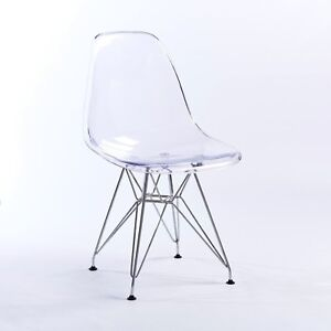 Ghost Clear Acrylic Style Dining X Office Chair Transparent Eiffel Steel UK