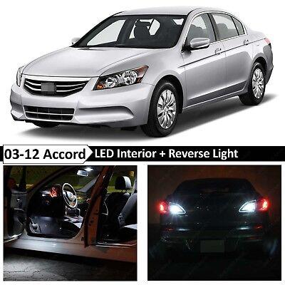 16 Bulbs White Interior + Reverse LED Lights Fits 2003-2012 Honda Accord Sedan