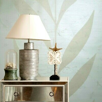 - Wallpaper roll ivory cream Metallic Textured Flocking tree tropical plant leaves