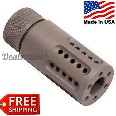 USA MADE MINI Slip-Over Recess Multi-Port Muzzle Brake 223/556/22LR 1/2x28 FDE