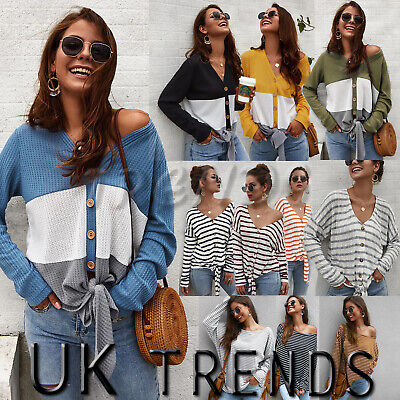 UK Women Ladies Striped Buttons Sweater Off Shoulder Jumper Pullover Knit Top