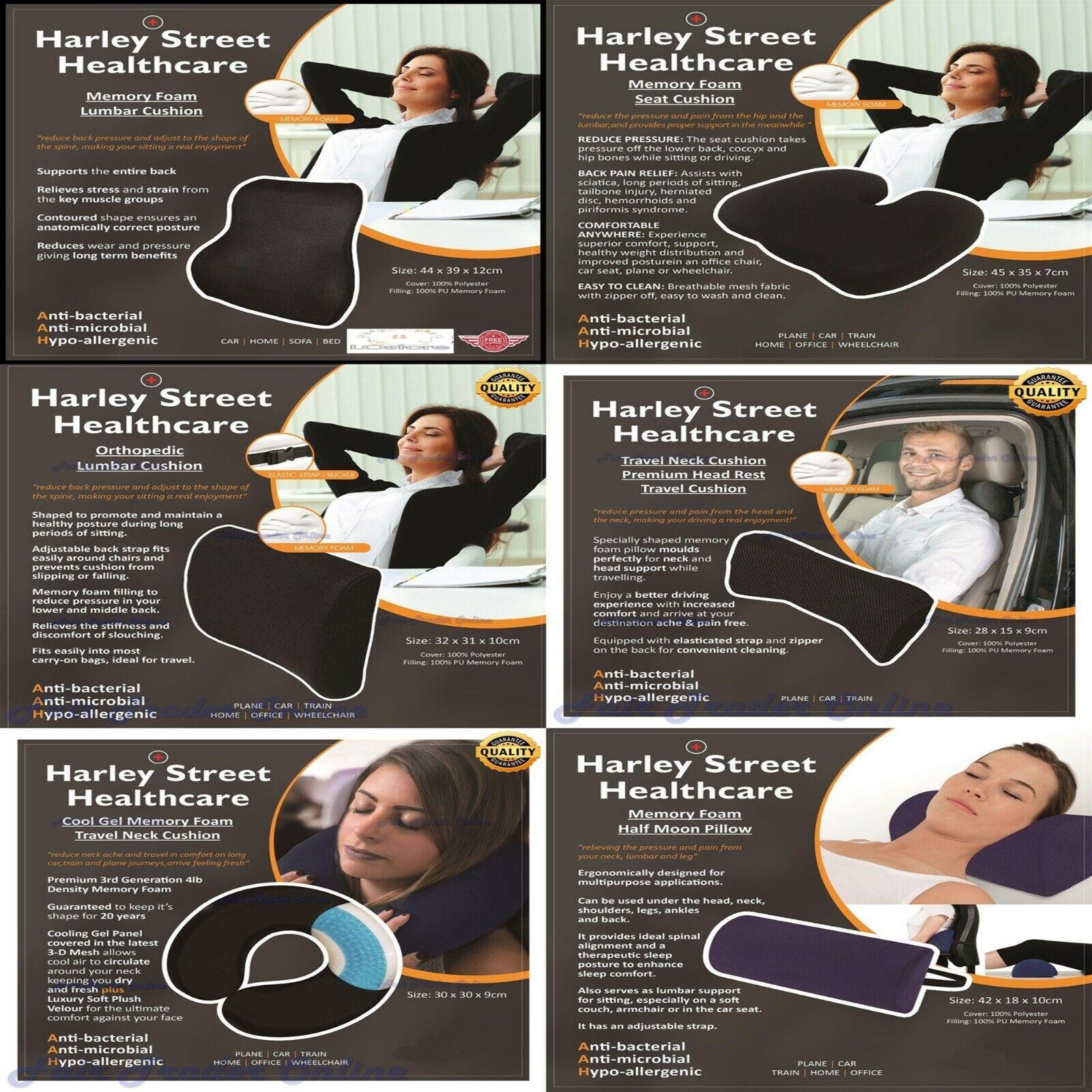 Details About Harley Street Memory Foam Seat Cushion Car Orthopaedic Cool Gel Half Moon Lumbar