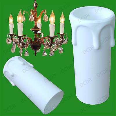 10 Licht Kronleuchter (10 X Weiß Abtropft Kerzenwachs Effekt Kronleuchter Licht Birnen Abdeckhülse 55mm)