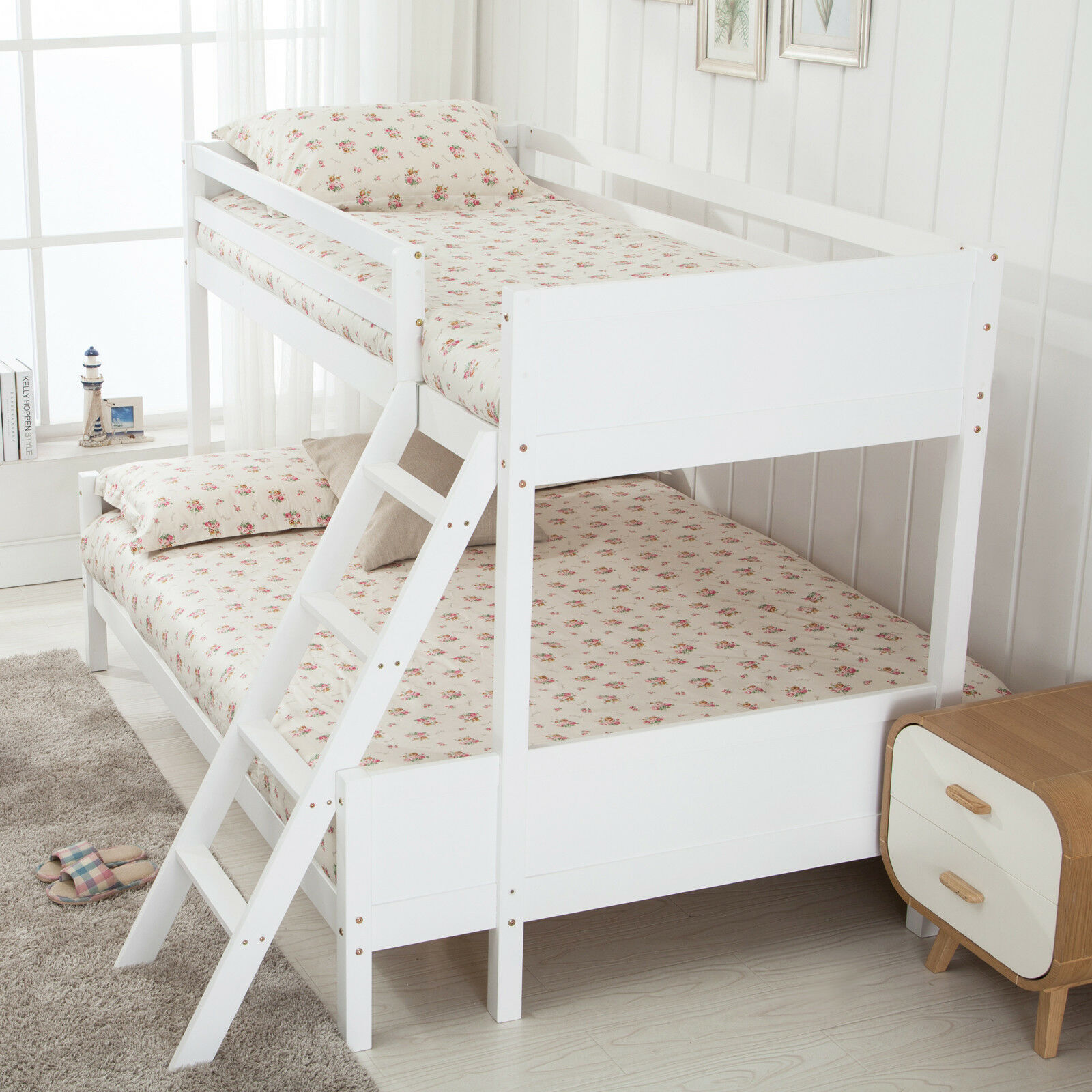 3ft Single 4ft Small Double White Pinewood Bunk Bed Frame For Kids